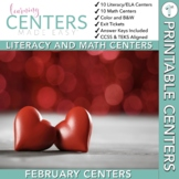 February Centers -- First Grade Math and ELA