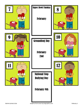 February Children with Hearts Calendar Pieces