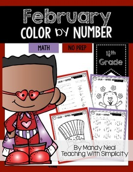 February Color By Number for 4th Grade Math