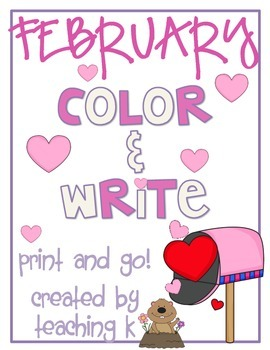 February Color & Write (Writing Journal for K-2)