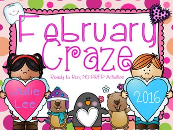 February Craze No Prep Math and Literacy Activities