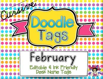 February Cursive Doodle Tags - Ink Friendly Editable Desk