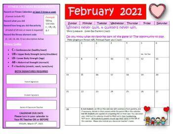 February Fitness Calendar 2017