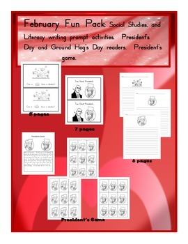 President's Day Emergent Reader, board game, writing prompts