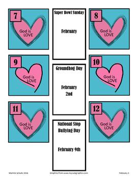 February-God is Love-Calendar Pieces