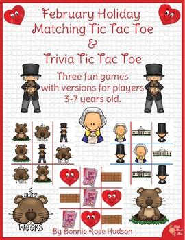 February Holiday Matching Tic Tac Toe and Trivia Tic Tac Toe