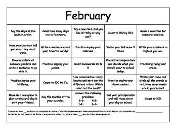 February Homework Calendar