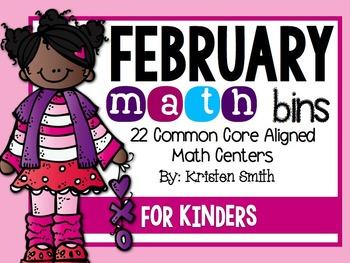 February Math Bins For Kindergarteners- Aligned To The Com