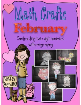 February Math Crafts Subtracting 2-Digit Numbers with Regrouping