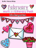 Valentine's Day Math and Literacy Pack-kindergarten
