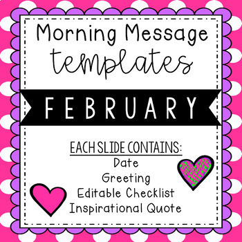 February Morning Message Editable Template