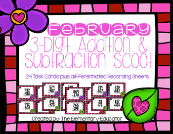 February Multi-Digit Addition and Subtraction Scoot