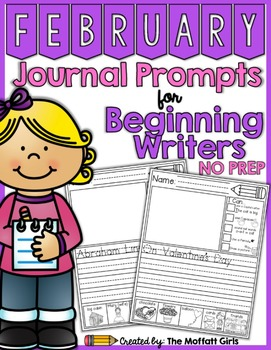 February NO PREP Journal Prompts for Beginning Writers