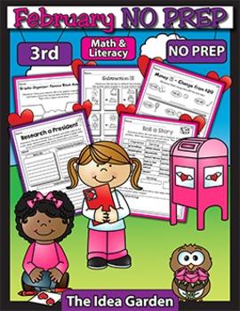 February NO PREP - Math & Literacy (Third)