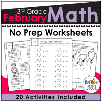 February NO PREP Math Packet - 3rd Grade
