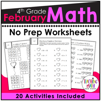 February NO PREP Math Packet - 4th Grade