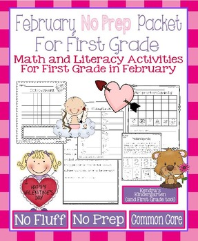 February / No Prep Math and Literacy Packet for First Grad