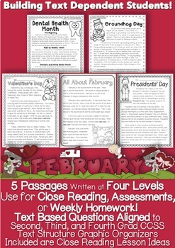 February Passages w/ CCSS Text Based Questions Close Readi