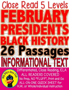 26 Passages Close Read 5 levels Presidents Black History F
