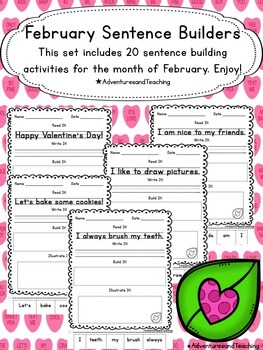February Sentence Builders {morning work, word work, daily