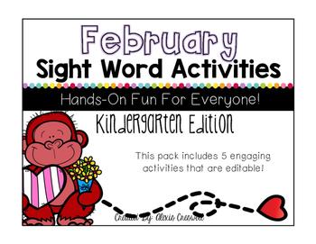 February Sight Word Activities: Editable