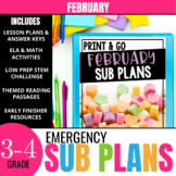 No Prep February Sub Plans for 3rd Grade & 4th Grade