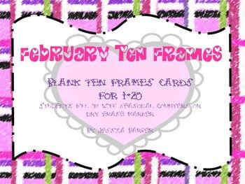 February Ten Frames: 1-20 for Valentine's Day