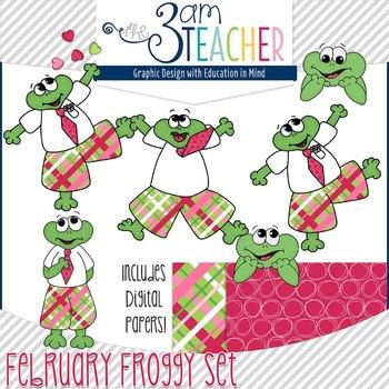 February Themed Froggy Clipart Set