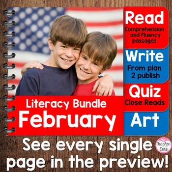 {Feb. Literacy} 4 Themed Units- Reading, Fluency, Writing,