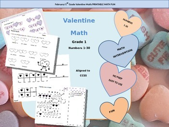 February Valentine Math Printables for 1st grade