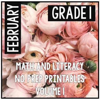 February Valentine's First Grade Math and Literacy NO PREP