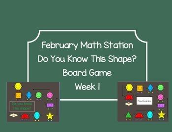 Winter Shape Attributes Board Game Math Station Week 1 & 2