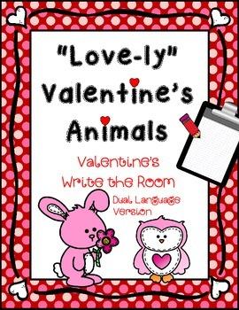 February Write the Room: *Valentine's Animals* Dual Langua