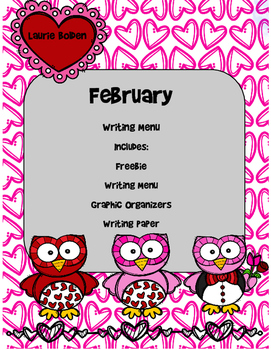 February Writing Menu with Graphic Organizers and Paper. F