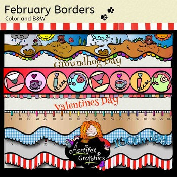 February borders- Color and B&W