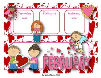 February calendar flash cards