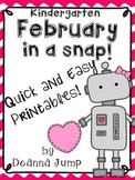 February in a Snap:  No Prep Printables for Math and Literacy