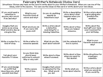 Feburary Writer's Choice Board / Calendar Prompts for Writ