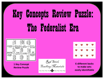Federalist Era Key Concepts Puzzle
