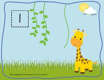Feed the Giraffe Playdough Mats 1-10