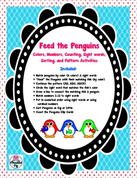 Feed the Penguins, Sight Word Colors Numbers Counting Patt