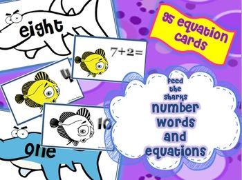 """Feed the Sharks""- Number Words and Equations Game"