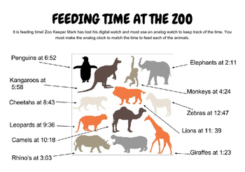 Feeding Time at the Zoo - Telling Time to the Minute