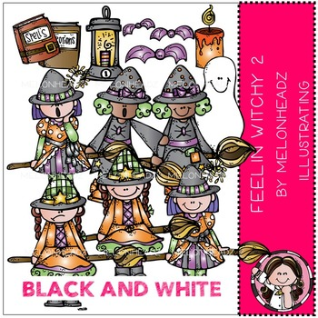 Melonheadz: Feelin Witchy clip art Part 2 - BLACK AND WHITE