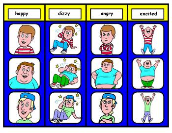 Feeling Words File Folder Matching Task for Autism: Boy