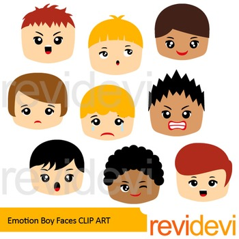 Feeling and emotion clip art - Boy faces