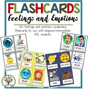 Feelings & Emotions Part 1 {44 Flashcards & Games} ESL Adu