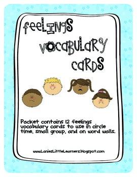 Feelings Vocabulary Cards - Social & Emotional Development