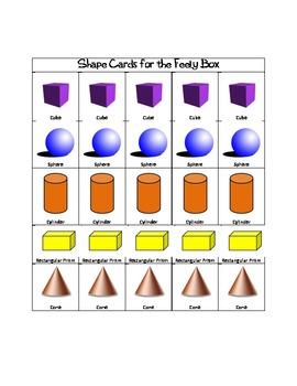 Feely Box Shape Cards