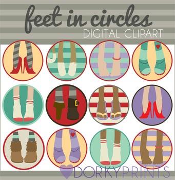Feet in Circles Digital Clip Art